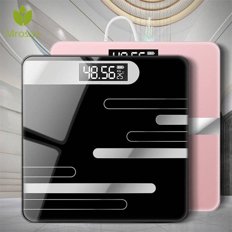 Bagno Bilancia s Pavimento Del Corpo Bilancia USB di Vetro Intelligente Delle Famiglie Elettronico Digitale del Peso di Equilibrio Bariatrica Display LCD 180 KG/ 50G