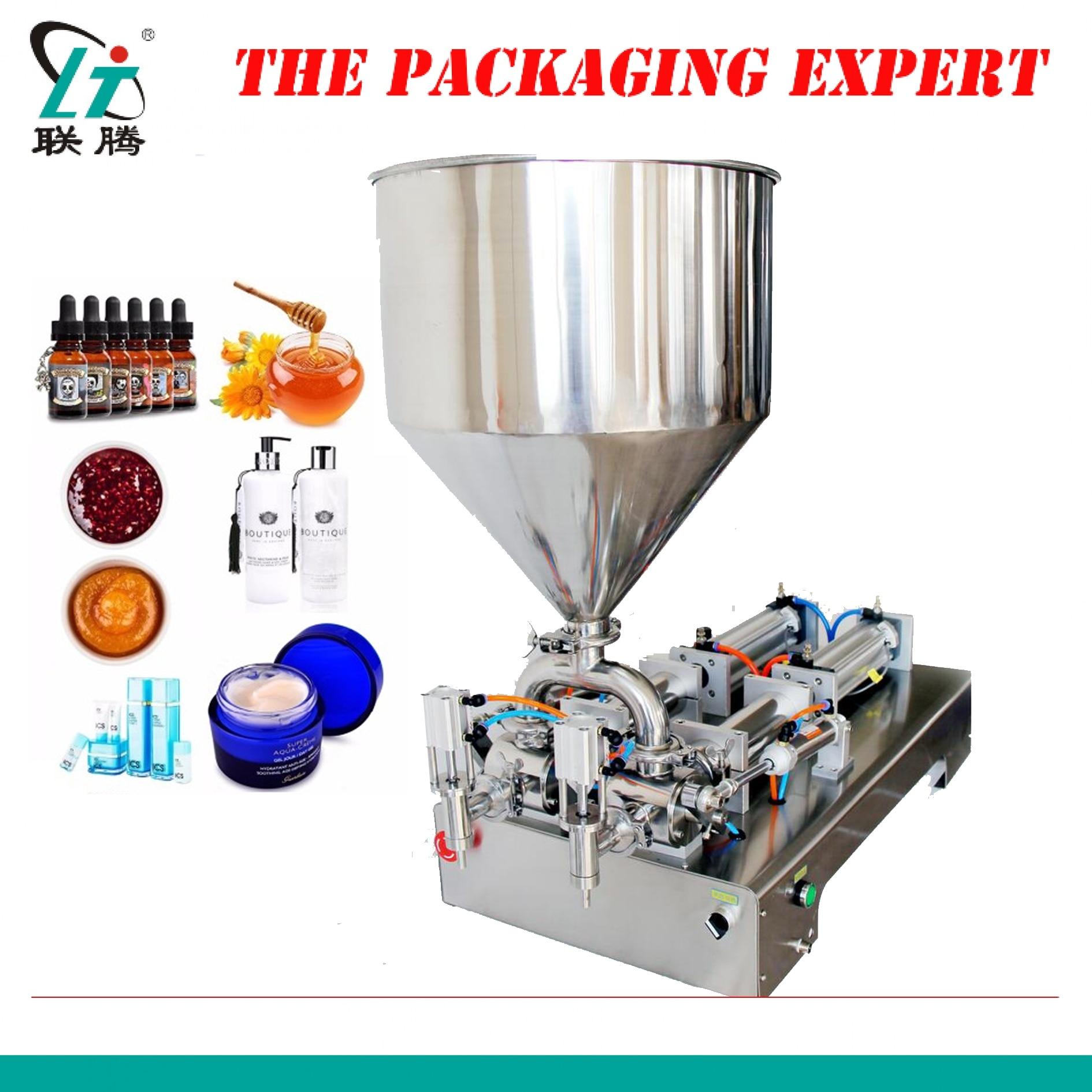 Cream Filling Machine Double Heads Pneumatic Piston Filler Shampoo Lotion Yoghourt Honey Juice Sauce Jam Nial Polish Fill