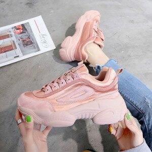 Image 4 - SWYIVY 2019 المرأة أحذية رياضية الصيف أبي أحذية النساء منصة جديدة أحذية رياضية أبيض/وردي حذاء كاجوال الإناث تنفس أحذية رياضية