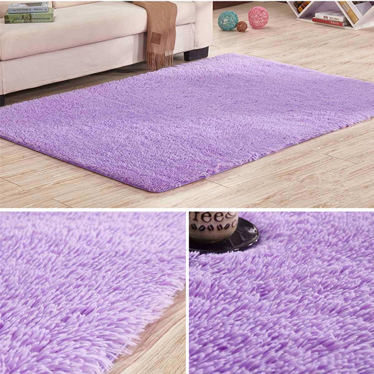 Purple Fluffy Rugs Anti-Skid Shaggy Area Rug Non-slip Carpet Floor Mat Home Living Room Soft Child Bedroom Climbing Mat 2 Size