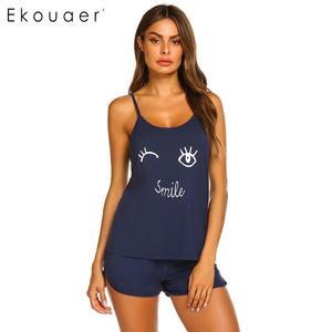 Image 3 - Ekouaer женское нижнее белье, шорты, пижамы, круглый вырез, регулируемый ремень, комплект пижам с принтом