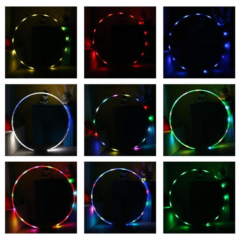 Rechargable Sport LED Hoop Toy Circle Light Colorful Decorations Fitness Circle LED Training Diet Tools Lighting Hoop