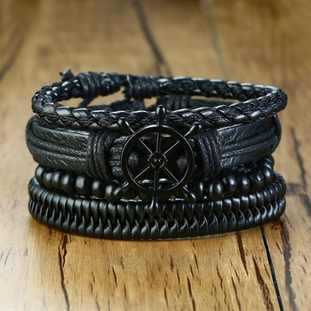 4Pcs/ Set Braided Wrap Leather Bracelets