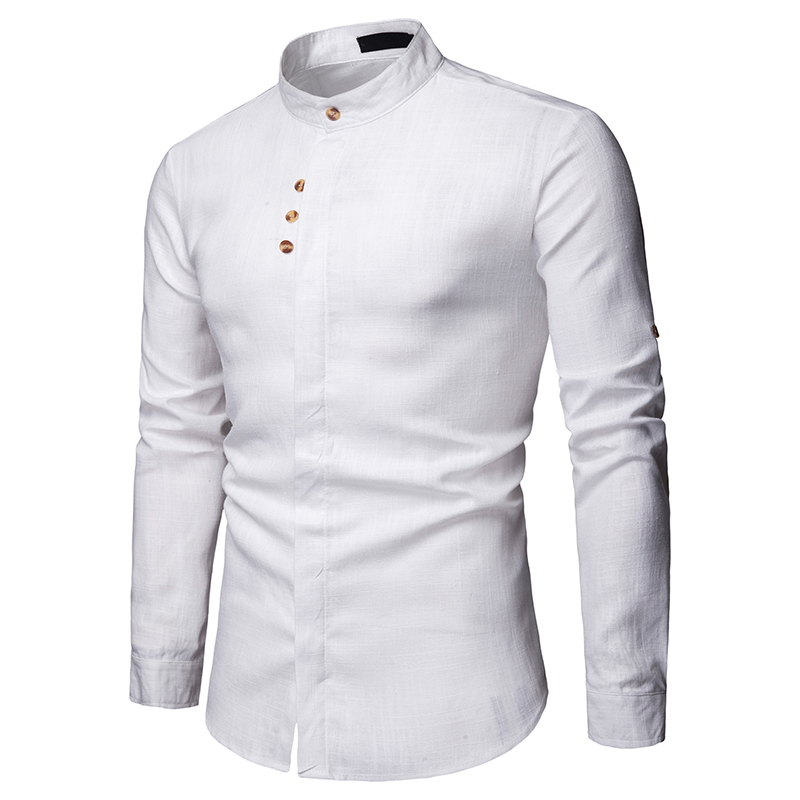 2019 New Fashion European Style Men Business Casual Linen Mens Long Sleeve Shirt