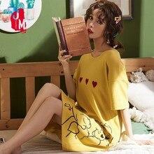 Summer Cotton Nightgowns Women Casual Soft Sleepwear Dress letter Slip Nightdress Nightwear Female Nighties недорого