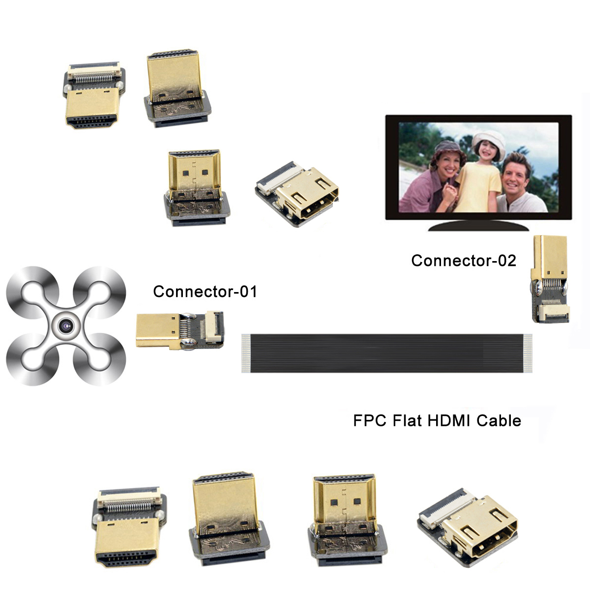FPV Micro HDMI Mini HDMI 90 Degree Connector FPC Flexible Flat HDMI Ribbon Cable FFC Pitch 20pin For Drone Gopro DSLR Gimbal Kit