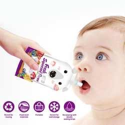 8 шт./компл. мультфильм многоразовые герметичные Детские Еда сумка для хранения 200 мл Грудное молоко; сумка двойная молния кормления сумки