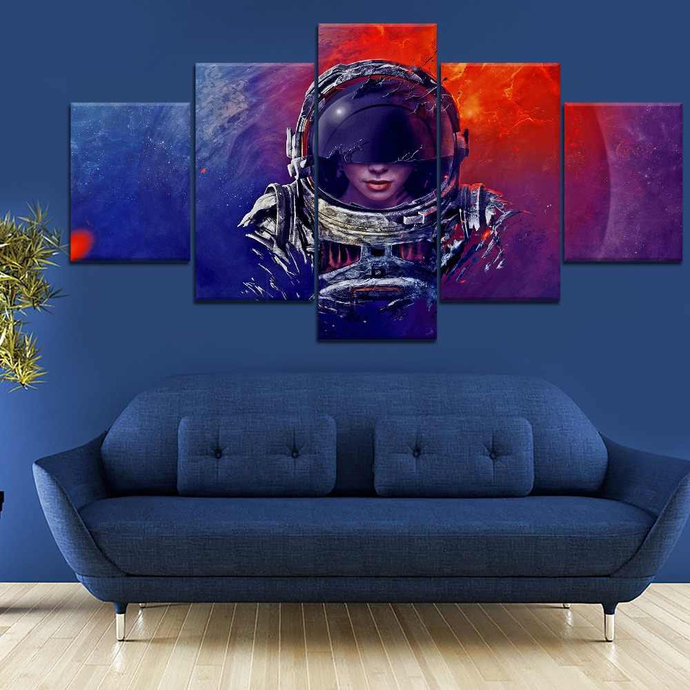 Space Astronaut Outer Space 5 Piece Canvas Wall Art Poster Print Home Decor