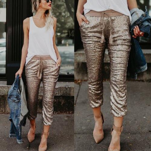 New Fashion Women High Waist Skinny   Pants   Sequin Glitter Leggings Trousers Evening Dance