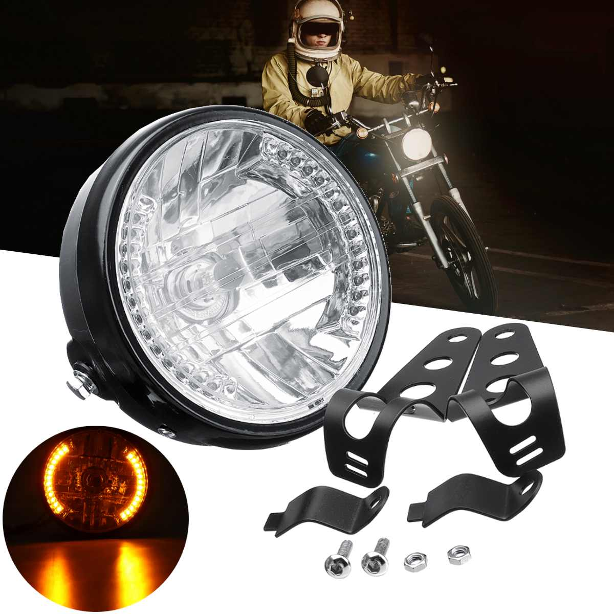 7 inch <font><b>H4</b></font> 35W Halogen <font><b>Bulb</b></font> <font><b>Motorcycle</b></font> ATV Headlight with Turn Light with Mounting Bracket image
