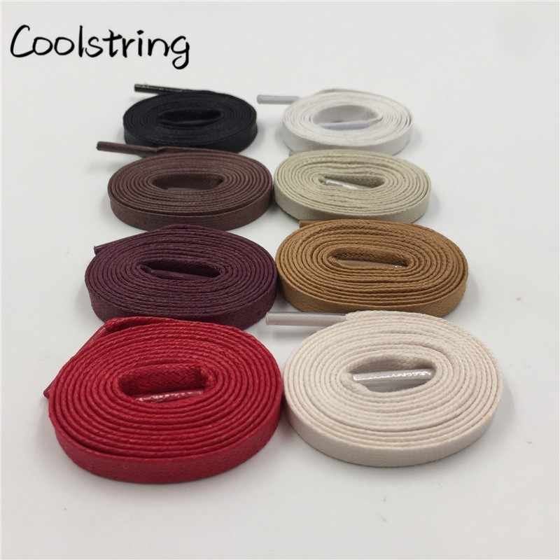 0cf9792adbf Coolstring Waxed Cotton Flat Shoe Laces Leather Waterproof Mens Martin  Boots Shoelace Casual Dress Coloured Shoestring Unisex