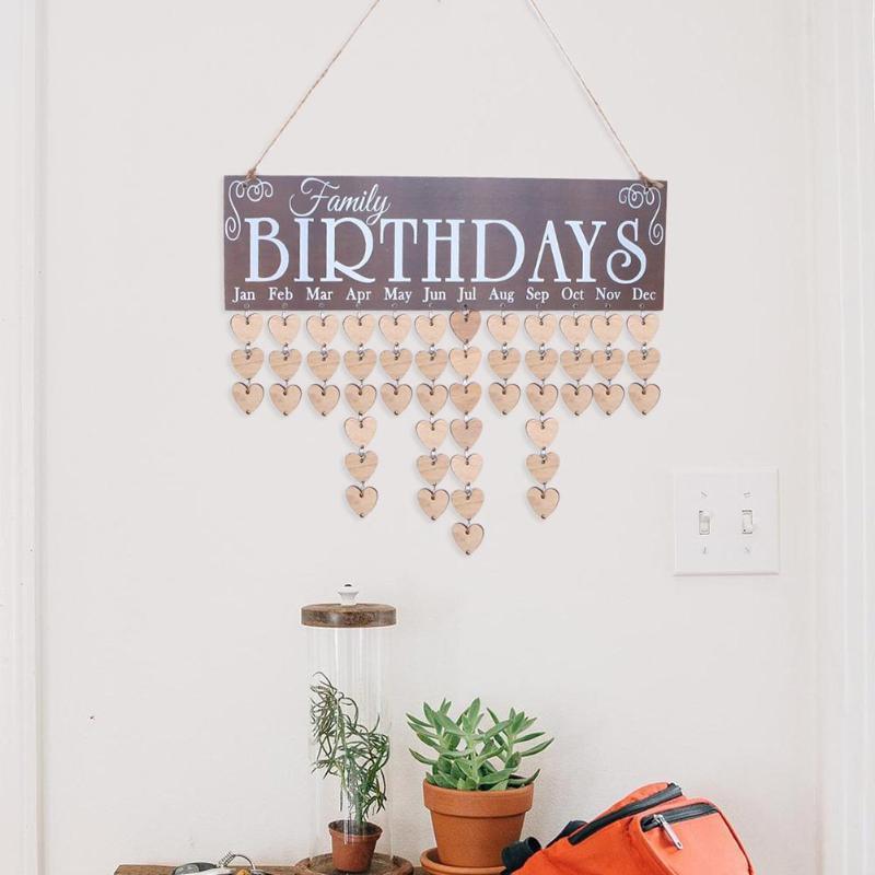 Wall Wooden Creative Birthday Reminder Home Decor Hanging Plaque Board 2019 Calendar DIY Calendar Birthday Board