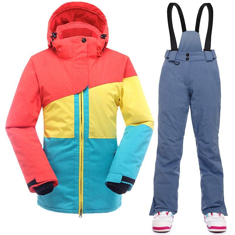 SAENSHING chaud Ski costume femmes hiver Ski veste snowboard costumes imperméable 10 K respirant neige extérieur Ski de montagne ensemble - 3
