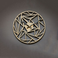 New Wall Clock Geometric Patterns 3D Wall Clock 30cm Hollow Hanging Clock On Wall Wooden Watch For Home Decoration Dropshipping