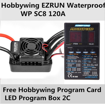 Hobbywing EZRUN Waterproof WP SC8 120A RTR Speed Controller ESC free Card LED Program Box for rc truck car Brushless motor
