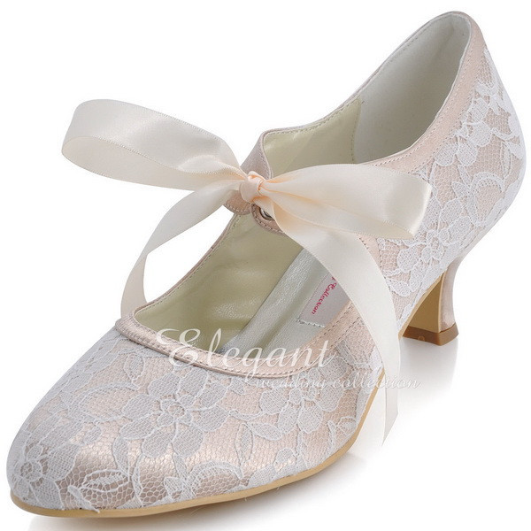 Woman Wedding Shoes A3039-2 Closed Toe Low Heel Mary Jane Ribbon Tie Lace  Bride Bridesmaid Bridal Women Bridal Shoes Champagne c4cd597981e7