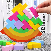 цена на Rocking stacking height wooden building blocks Children's toys Balance game Kids' Floor Games Tetris puzzle Assembly blocks Toy