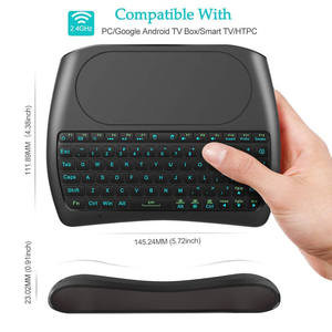 Image 3 - الخلفية D8 برو i8 الإنجليزية الروسية الإسبانية 2.4 جيجا هرتز اللاسلكية لوحة مفاتيح صغيرة ماوس هوائي لوحة اللمس 7 اللون الخلفية ل تي في بوكس أندرويد