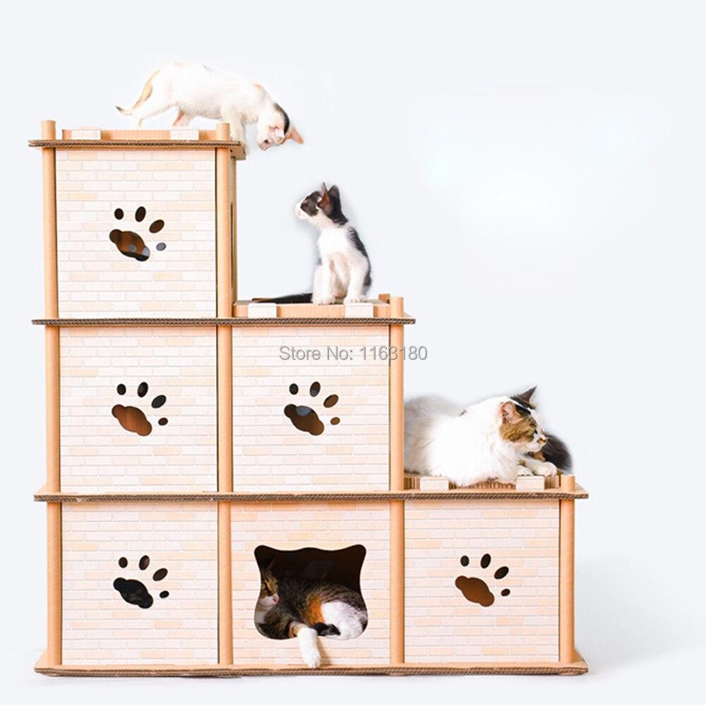 1 piezas corrugadas DIY creativo multi deformación gato escalada marco gato rasguño tablero gato garra Juguetes-in Muebles y raspadores from Hogar y Mascotas    1