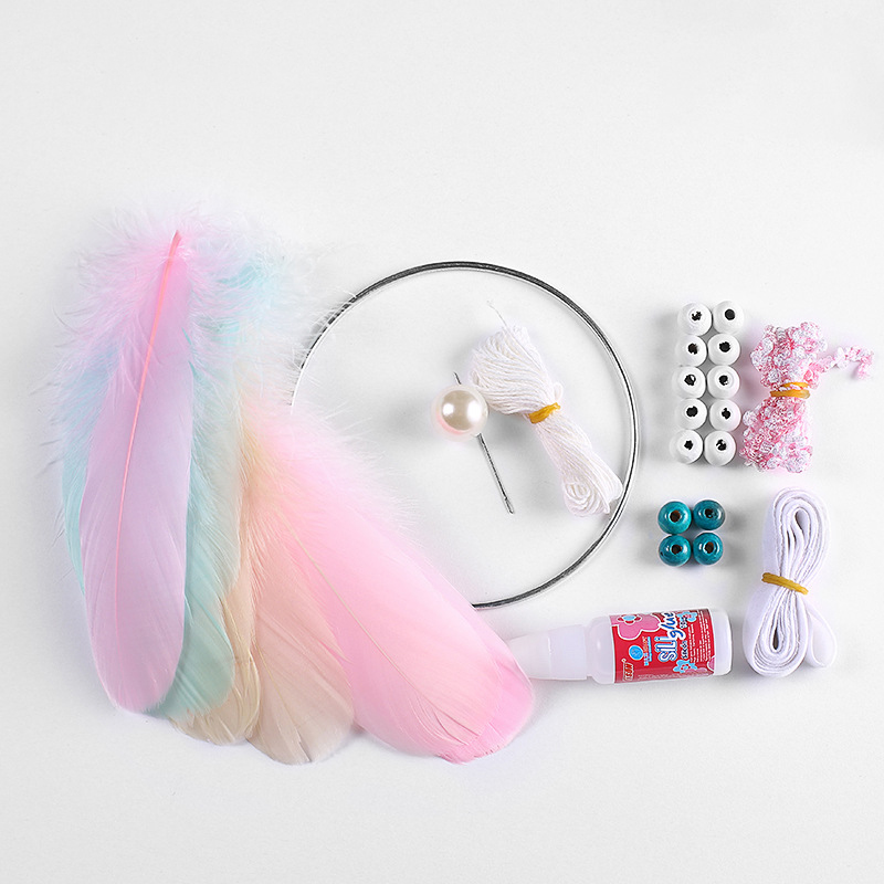 1xSet DIY Crochet Feather Dream Catcher Kit Hanging Decoration Home Wall Ornament Set 3 style
