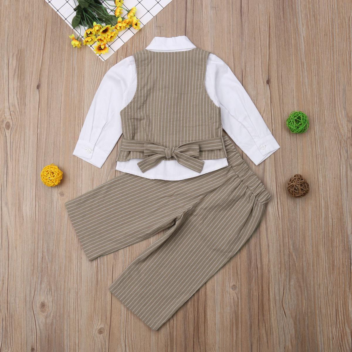 4pc Boy Toddler Formal White Bow tie White Khaki Black Shorts with Hat sz S-4T