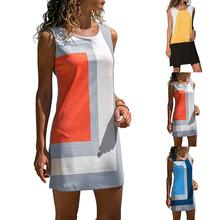 Lady Fashion Sexy Summer Color Block Sundress Casual Womens Slim Dresses Sleeveless O-Neck Above Knee Mini Short Beach Dress