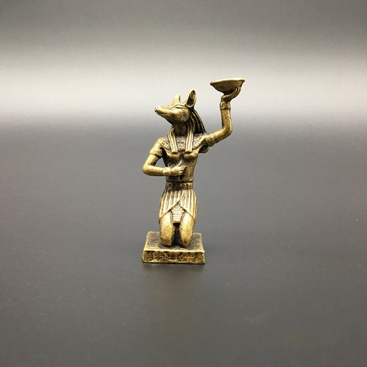 Collection Chinese Brass Carved Anubis, An Ancient Egyptian Dog-headed Man Incense Insert Exquisite Small Statues