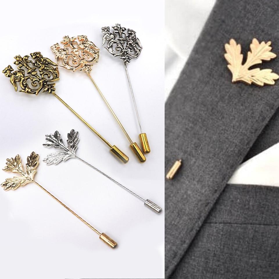 2X Vintage Gingko Leaf Revers Anstecknadel Suit Muetze Schal Brosche F4B3
