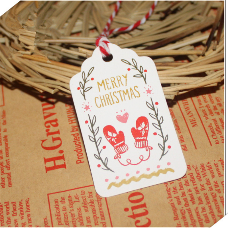 50pcs Diy Hang Tag With Rope Christmas Series Santa Claus Diy Kraft Paper Tags Christmas Party Labels Gift Wrapping Supplies Elegant Shape Festive & Party Supplies Party Diy Decorations