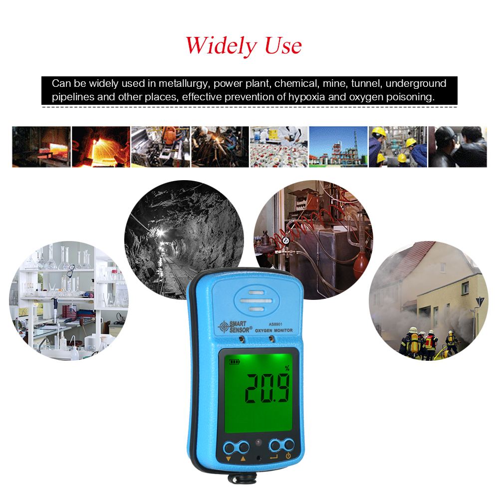 SMART SENSOR Portable Riot Control Oxygen Gas Analyzer O2 AS8901 Concentration Content Measuring Instrument Detector Tester