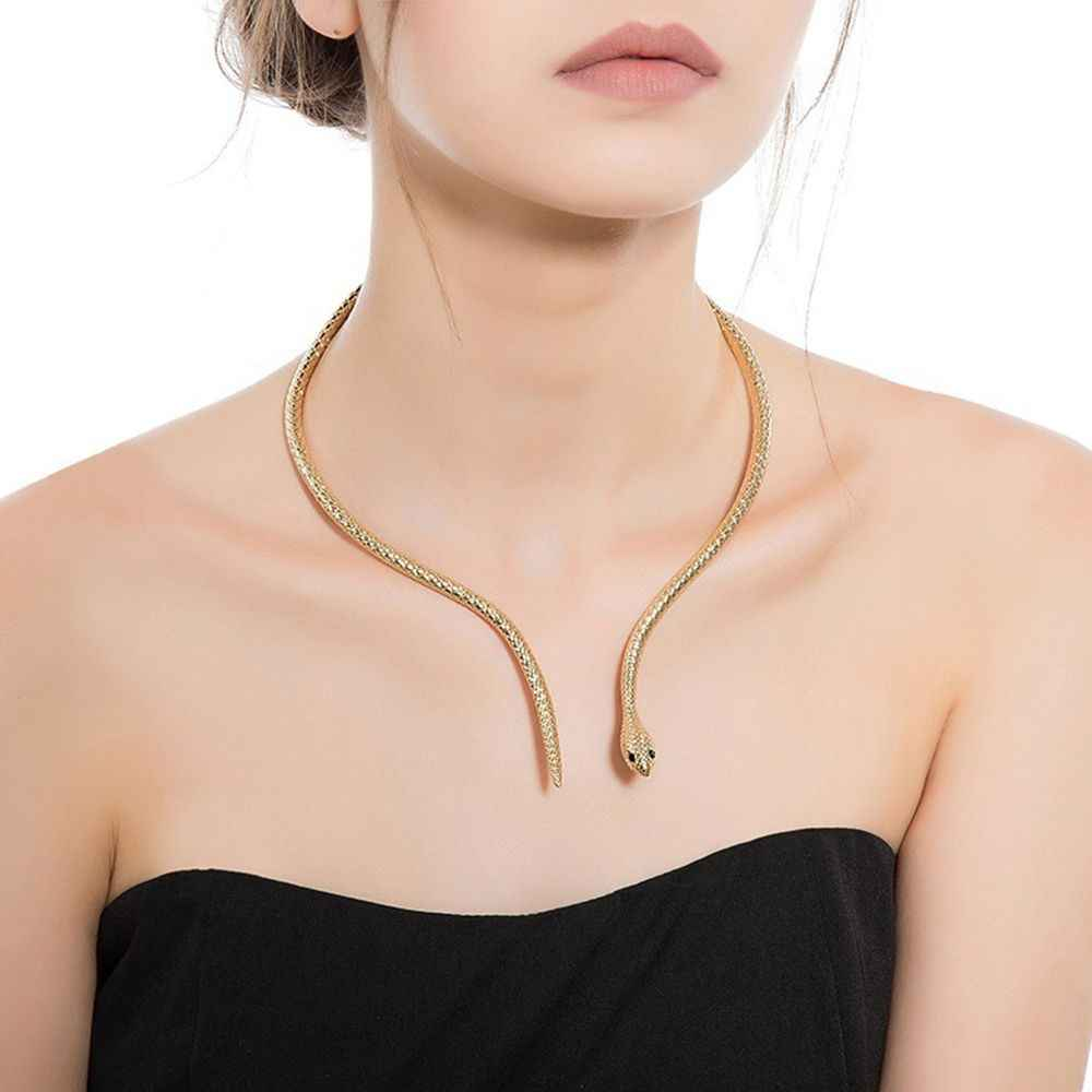 Trendy Personality Hyperbole Snake Choker Necklace For Women Silver Gold Color Statement Necklace jewelry