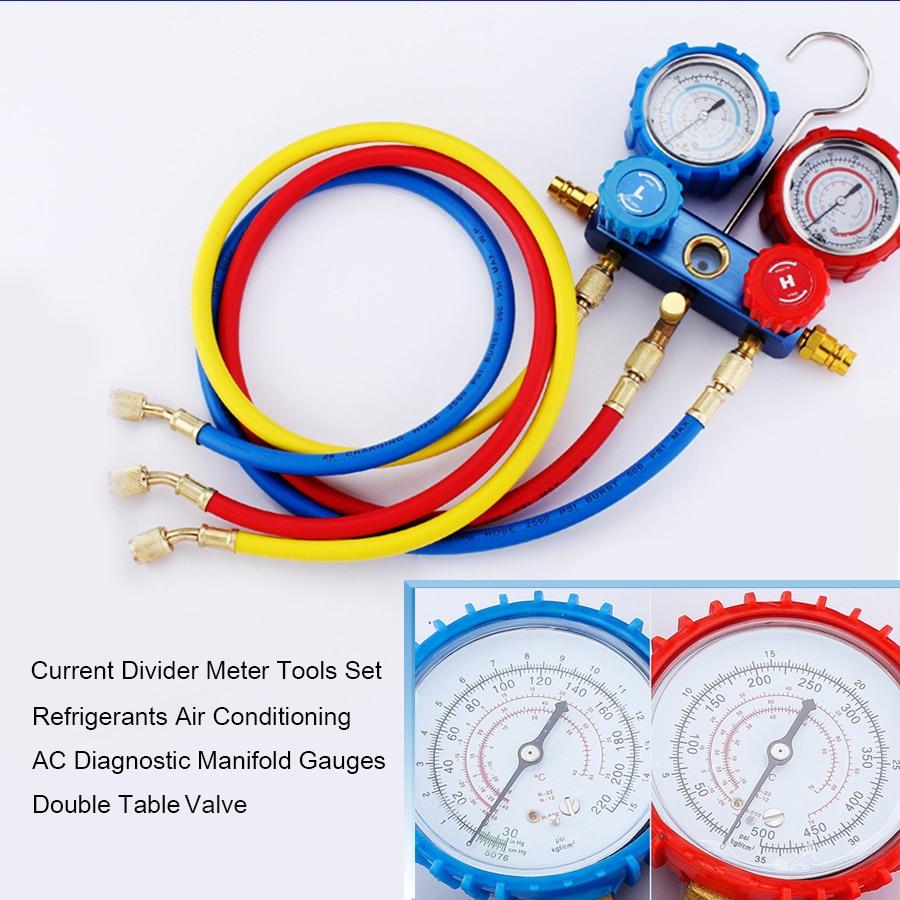Current Divider Meter Tools Set Refrigerants Air Conditioning AC Diagnostic Manifold Gauges Double Table Valve
