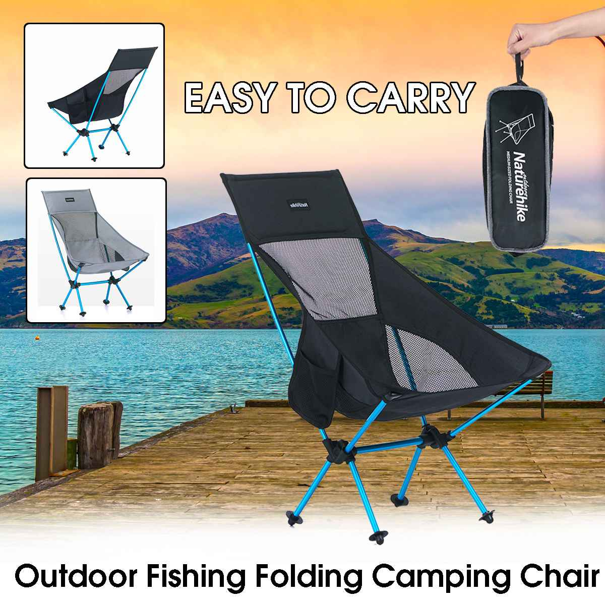 Us 44 24 16 Off Naturehike Portable Light Outdoor High Back Folding Chair Camping Mesh Picnic Bbq Beach Fishing Backpack Seat Max Load 90kg In