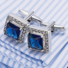 2017 New Arrival French Shirt Cufflinks Sea Blue Crystal Cuff links Lawyer Gemelos 518