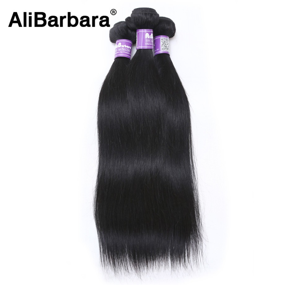 AliBarbara Malaysian straight Hair 100 Human Hair Weaves Natural Black 1B Non Remy Hair Extension Free