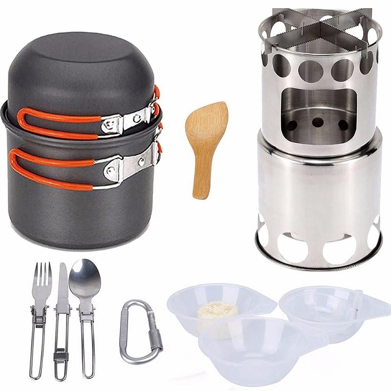 LGFM 14Pcs/Set Outdoor Camping Pan Wood Stove Hiking Cookware Cooking Picnic Bowl Pot Pan Set Camping Cookware Mess Kit