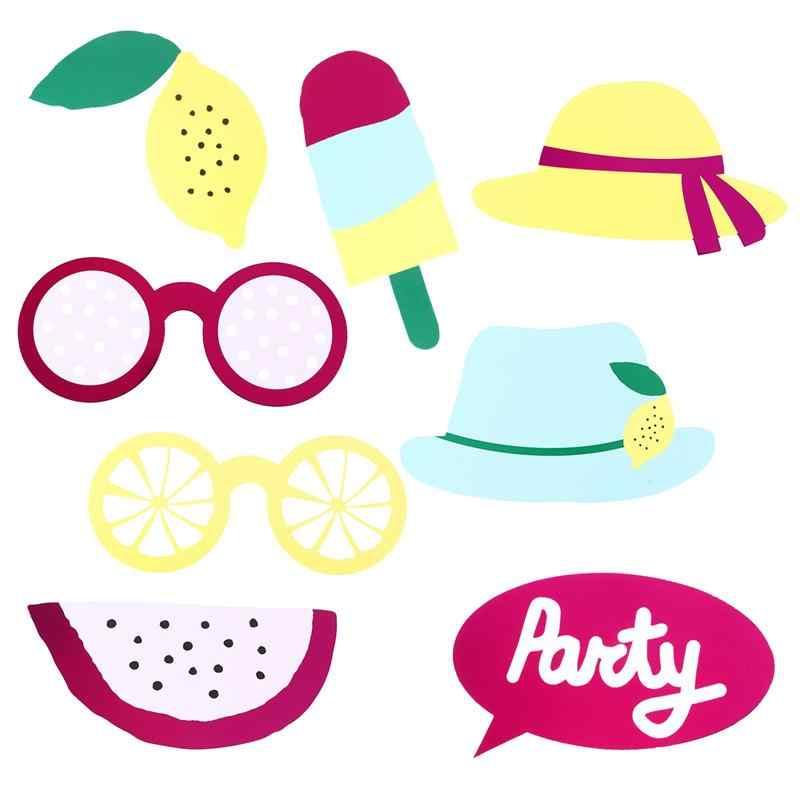 6 шт. летние фотобанк реквизит комплект фрукты в шляпе и очках Photobooth украшения наряды Аксессуары
