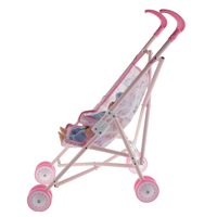 Baby Doll Portable Folding Stroller Trolley with Talking Baby Doll For Nursery Room Furniture Kids Pretend Play Toys