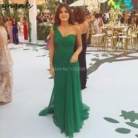 YNQNFS E52 Chiffon Pleats One Shoulder Emerald Green Women Elegant Formal Dress Party Mermaid Dress Evening 2019