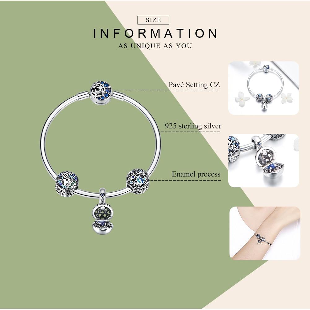 BAMOER 100% 925 argent Sterling poisson Tropical océan charme bracelets pour femme lune étoile bleu Bracelet & Bracelet bijoux SCB813-in Bracelets ficelle et chaîne from Bijoux et Accessoires    2