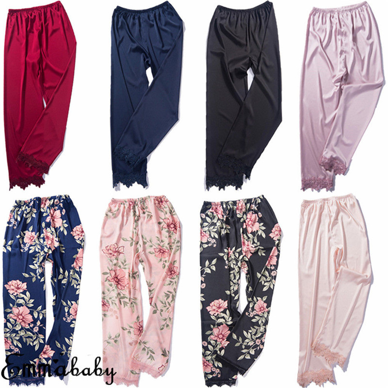 Nightwear Pants Pajamas Sleepwear Satin Silk Floral-Print Women Ladies Ankle-Length