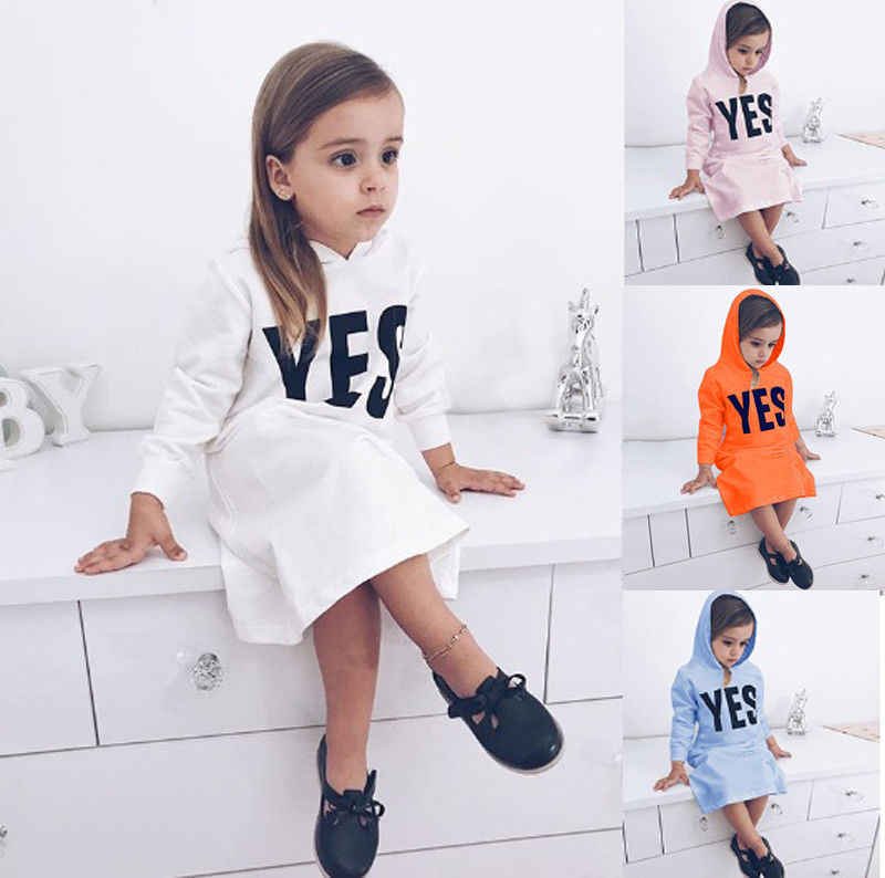 2018 Newly Autumn Causal Infant Kids Baby Girls Hoodies Dress Letter Print Long Sleeve Pullover Straight Dress