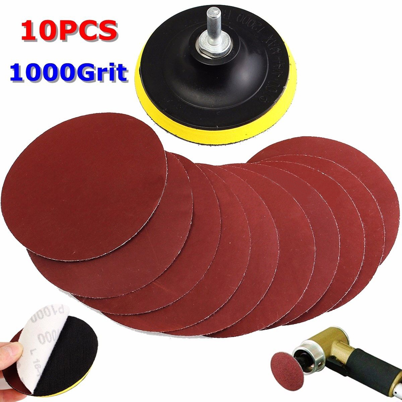 10Pcs Sanding Disc Sandpaper Hook Loop 1000 Grit + Backer Pad + Drill Adapter  Round Sandpaper Eight Hole Disk Sand Sheets