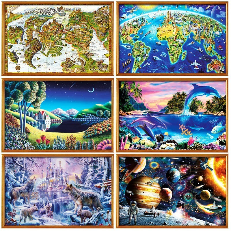 1000 Pieces Landscape Puzzle Wooden Autumn Jigsaw Mountain Ocean Coast Nature Adult Puzzle Educational Toys Gifts For Children