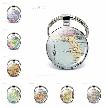 Vintage American Map Glass Dome KeyChain United States Florida Pensacola Tennessee Ohio Pendant Key Rings Fashion Gift For Lover image