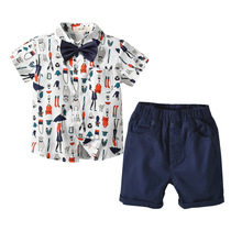 VTOM Baby Boys Clothing Sets Kids Short Sleeve Tops+Suspenders Pants 2PCS  Formal Fashion Clothes XN12