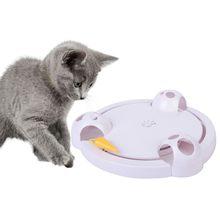Brinquedo interativo do gato engraçado gato automático rotativa jogo do gato teaser placa ratos & brinquedos animais de estimação exercício elétrico