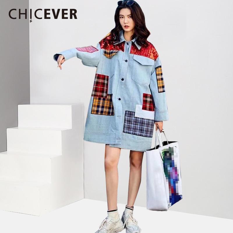 CHICEVER Patchwork Plaid Denim Jacket For Women Lapel Long Sleeve Single Breasted Vintage Loose Coat Female
