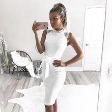 Summer Fashion Party Dress Elegante Slim Lace Stitching Sleeveless Wrap