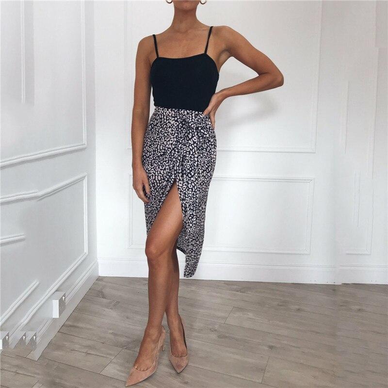 2019 Summer Women Skirt Leopard Hem Cross Fold Sexy Wrap Banded Waist Draped ladies skirt Cut Out Asymmetrical Pencil Skirts
